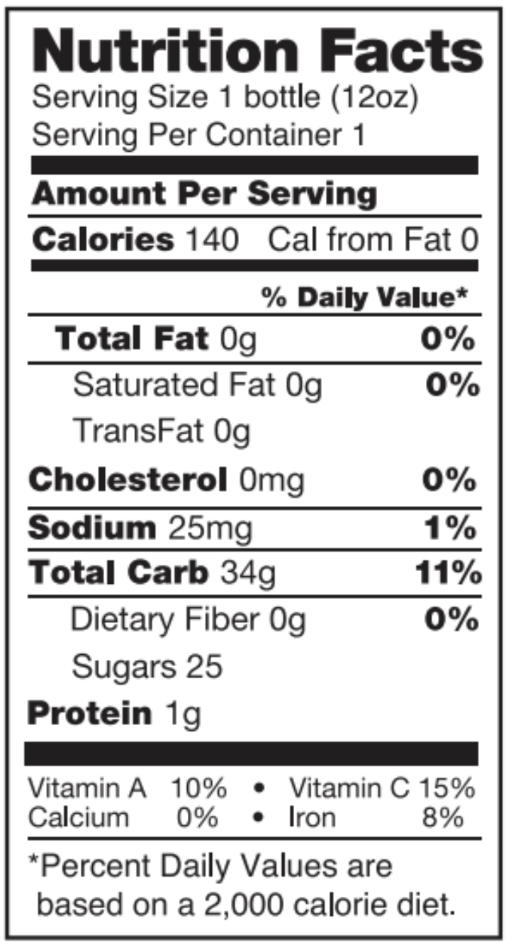 Restore nutrition facts